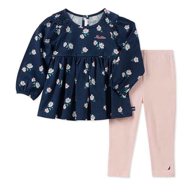 Nautica Sets Girls' 2 Pieces T-Shirt & Leggings Set Navy/Pink