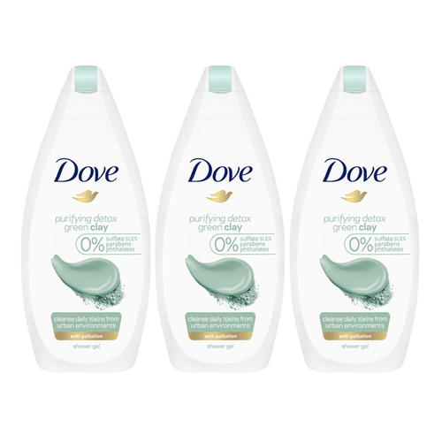 "Dove Body Wash Purifying Detox Green Clay 500 ml ""3-PACK"""