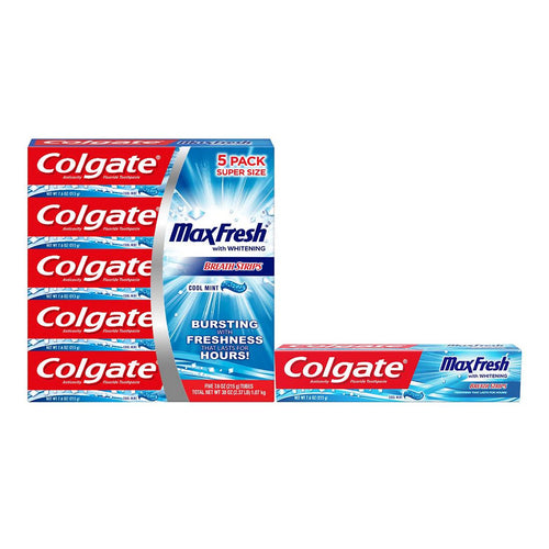Colgate Max Fresh Toothpaste with Mini Breath Strips, Cool Mint 5-PACK 7.6 oz