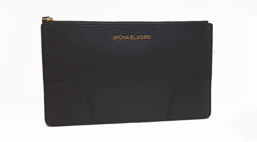 Michael Kors Leather LG Zip Clutch Wallet For Women (Black)