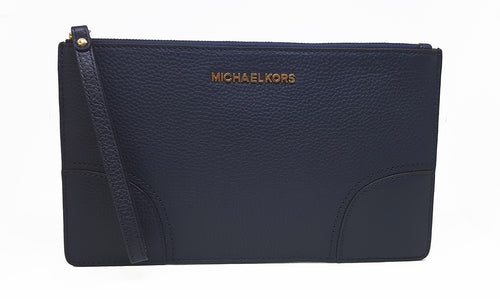 Michael Kors Leather LG Zip Clutch Wallet For Women (Navy)