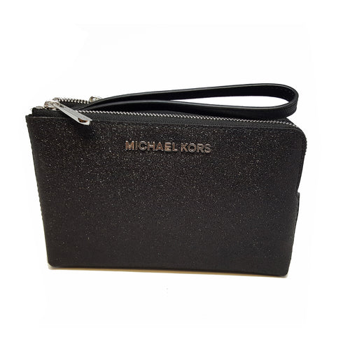 Michael Kors Jet Set Travel Wristlet LG Leather Black/Brillant