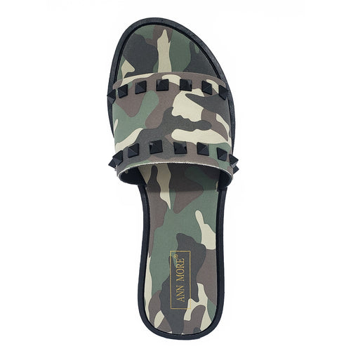 Ann More Monterey Jelly Sandals Slide Camouflage Spike Green