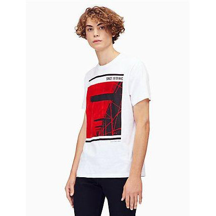 Calvin Klein Jeans Men's Short Sleeve T-Shirt Flocked Bridge Print Crew Neck, Standard