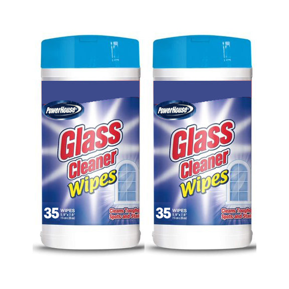 "Glass Cleaner Wipes 35 ct by PowerHouse ""2-PACK"""