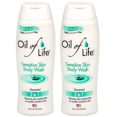 "Oil of Life Sensitive Skin Unscented 2 in 1 Body Wash 18 Fl Oz ""2 Pack"""