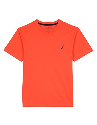 Nautica Boys' Short Sleeve V Neck Solid Channel Tee