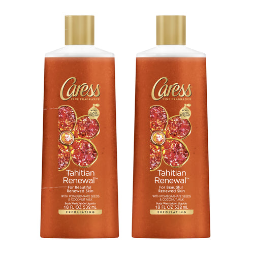 "Caress Exfoliating Body Wash Tahitian Renewal 18 oz 532 ml ""2-PACK"""