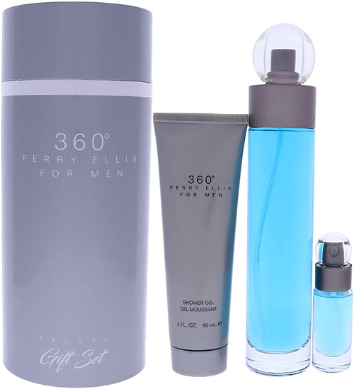 360 Deluxe  3 pcs. Gift Set (3.4 oz. / 100 ml EDT Spray + .25 oz. / 7.5 ml EDT Spray + 3.0 oz / 90 ml S/ Gel.