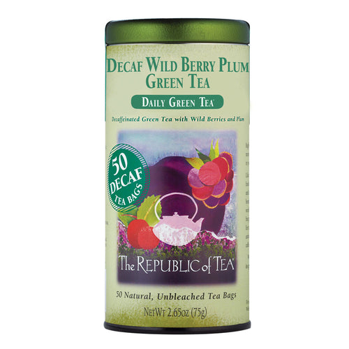 The Republic of Tea Decaf Wild Berry Plum Green 50 Tea Bags