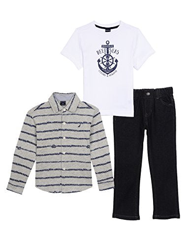 Nautica Toddler Boys' Long Sleeve Button up, Tee and Denim Pant
