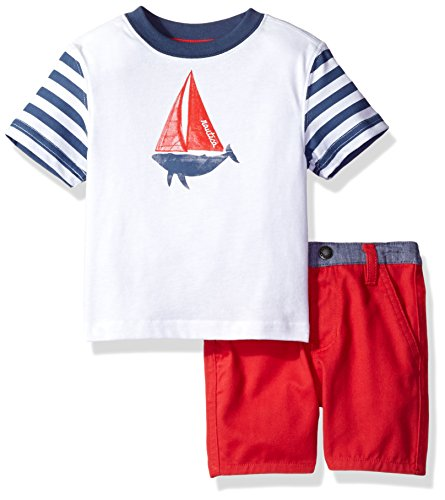 Nautica Baby Boys' Graphic Tee with Pull on Short Set, White
