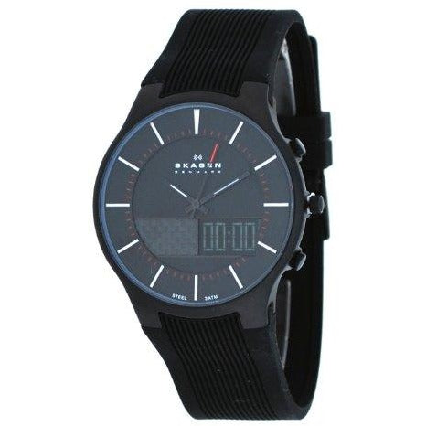 Skagen Black Silicone & Steel Watch