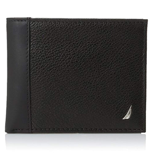 Nautica Men's Milled Leather Passcase Wallet, Black (31NU22X026)