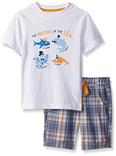 Nautica Toddler Boys' Two Piece Set with Crew Neck Graphic Tee and Pull on Short, White Monsters