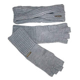 Michael Kors Headband and Fingerless Gloves Set Grey