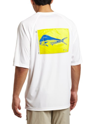 Columbia Men's Terminal Tackle Short Sleeve Shirt, White Cap, Dorado Flag
