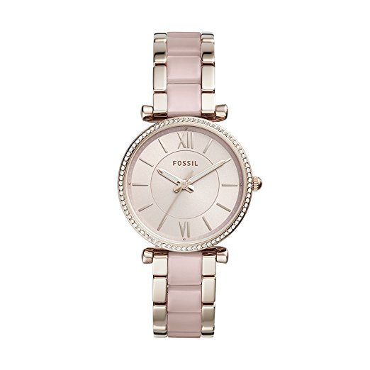 Fossil Women's 'Carlie' Quartz Stainless Steel Casual Watch Pink (ES4346)