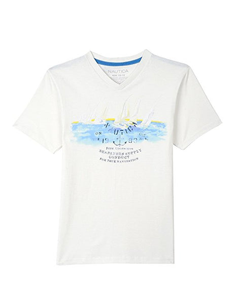 Nautica Boys' Short Sleeve V-Neck Graphic Tee Cream