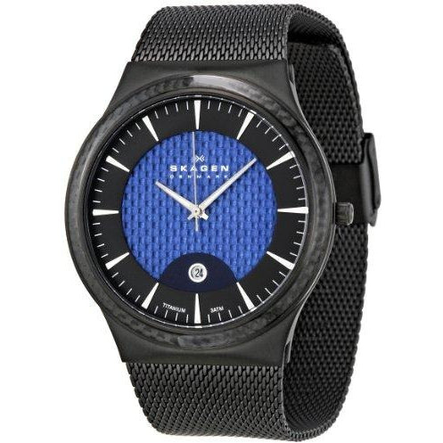 Skagen Men's 234XXLTBN Black and Blue Titanium Watch
