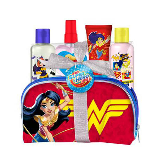 Superhero Girls Toiletry Bag EDT+Gel+Shampoo+Lotion