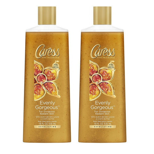 "Caress Evenly Gorgeous Exfoliating Body Wash 18 oz 532 ml ""2-PACK"""