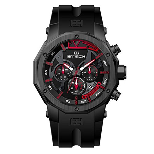 BTECH Men's Quartz Stainless Steel and Silicone Watch Black (BT-FC-622-02)