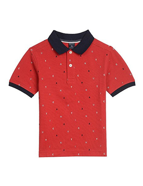 Nautica Little Boys' Short Sleeve Print Polo, Red Rouge