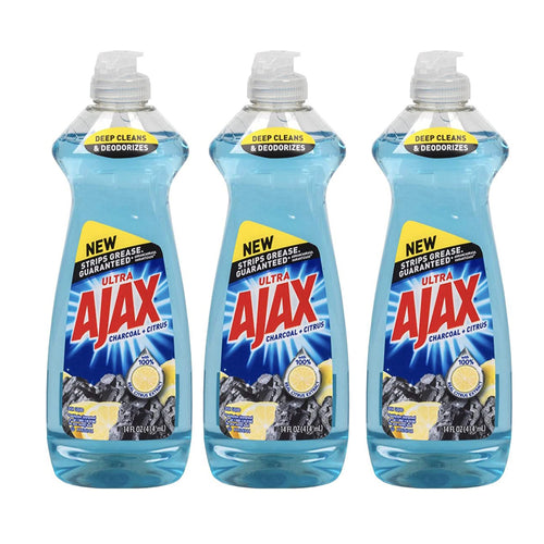 Ajax Charcoal & Citrus Lemon Dish Liquid  & Hand Wash Soap (Pack of 3pcs)