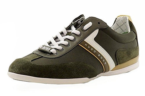 Hugo Boss Men's Spacito Fashion Dark Green Leather Sneakers Shoes (50292894 301)