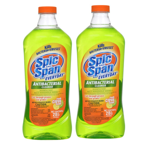 "Spic and Span Everyday Antibacterial Cleaner Fresh Citrus Scent 28 oz ""2-PACK"" (green)"