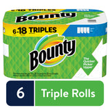 Bounty Select-A-Size Paper Towels White 6 Triples Rolls = 18 Regular Rolls