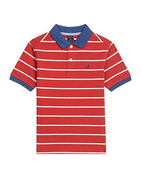 Nautica Boys' Short Sleeve Two Tone Stripe Polo Red Rouge