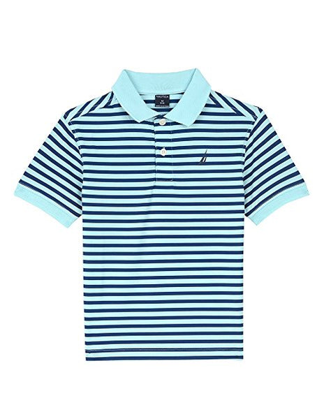 Nautica Big Boys' Short Sleeve Mini Stripe Poly Polo