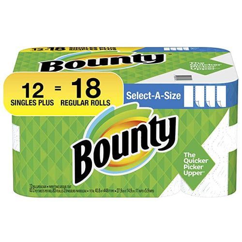 Bounty Select-a-Size Paper Towels Singles Plus 12=18