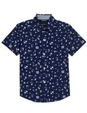 Nautica Big Boys' Short Sleeve Printed Poplin Button Down Shirt, Retro Blue Flag