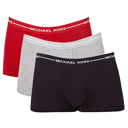 Michael Kors Ultimate Cotton Stretch Trunks 3-Pack (MD 32-34, Red/Grey/Black) Men