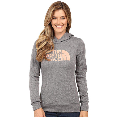 The North Face Women's Fave Half Dome Pullover Hoodie Medium Grey Heather/Feather Orange LARGE