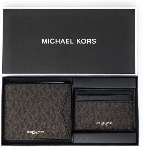 Michael Kors Set Two Piece Leather Billfold Wallet With Card Case (Brown PVC) 36H9LGFF7B