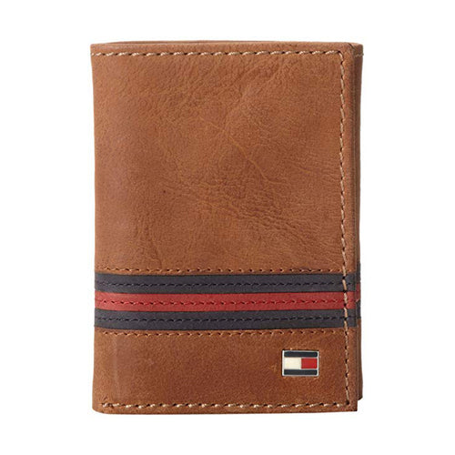 Tommy Hilfiger Men's Leather Trifold Wallet Saddle Tan (31TL11X028)