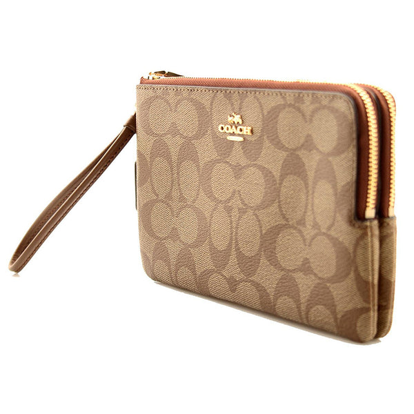 Coach Signature Coated Canvas Double Zip Wallet in Khaki (F16109) IME74