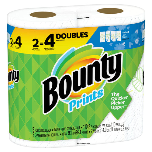 "Bounty Select-A-Size Paper Towels ""Print"" 2 Double Rolls=4"