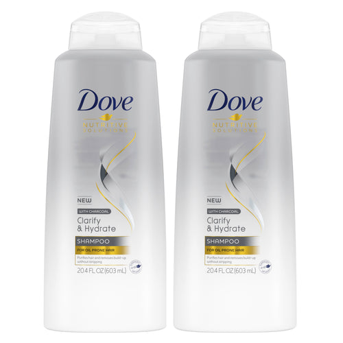 "Dove Clarify & Hydrate Shampoo with Charcoal 20.4 oz ""2-PACK"""