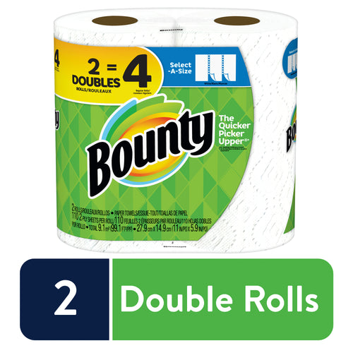 Bounty Select-A-Size Paper Towels White 2 Double Rolls =4