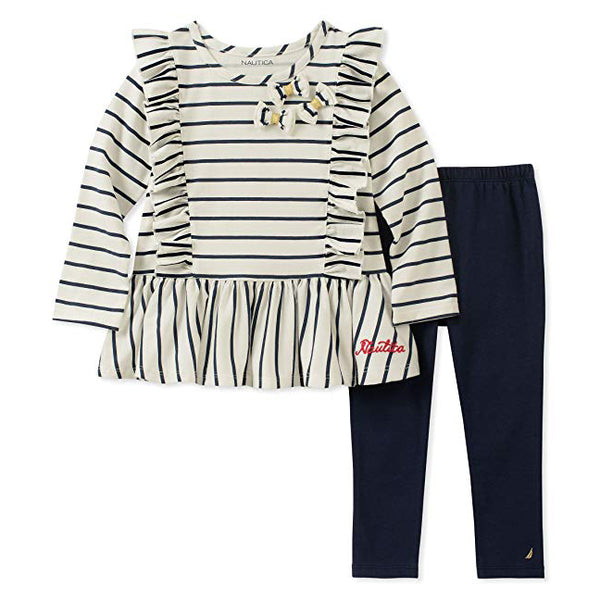Nautica Sets Girls' 2 Pieces Tunic Legging Navy
