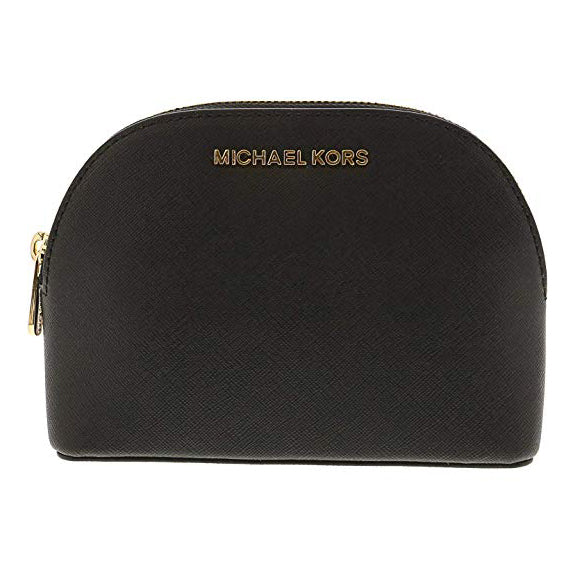 Michael Kors Jet Set Travel Large Leather Pouch Cosmetic Bag Black (35T8GTVU3L)
