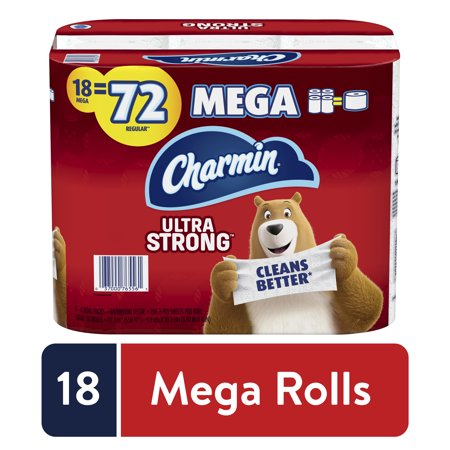 Charmin Ultra Strong Toilet Paper, 18 Mega Rolls = 72 Regular.  5148 Sheets