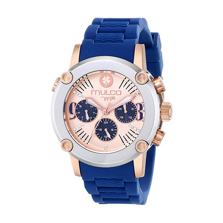 Mulco Watch (MW2-28050S-099) Crystal-Accented Stainless Steel with Blue Silicone Band