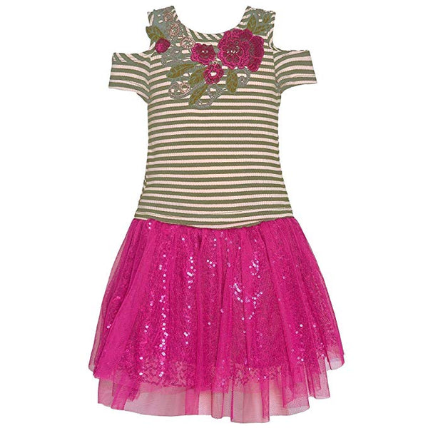 Bonnie Jean Little Girls Fuchsia Sequin Floral Detail 2 Pc Skirt Outfit