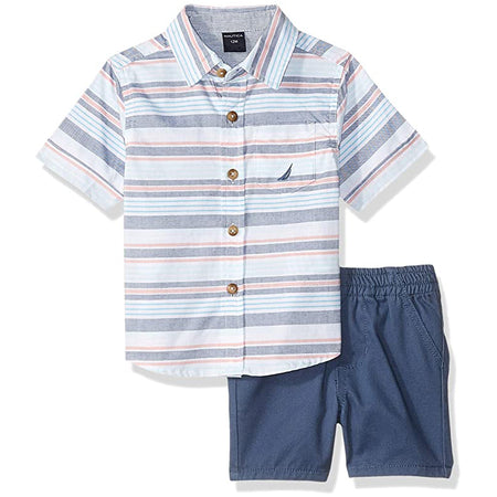 Nautica Baby Boys' Two Piece Set with Synthetic Polo Shirt and Short, Turquoise